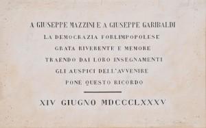 Lapide Mazzini - Garibaldi - via Saffi - C. Ferlauto IBC